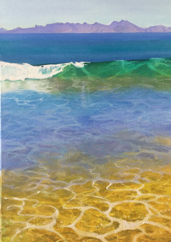 green wave to gold shallows PRINT 36x27cms