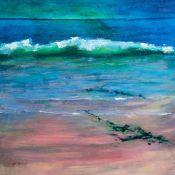 green wave on a wet pink beach, Wester Ross