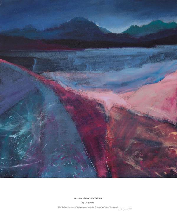 grey rock, crimson rock, Gairloch PRINT 27x27cms