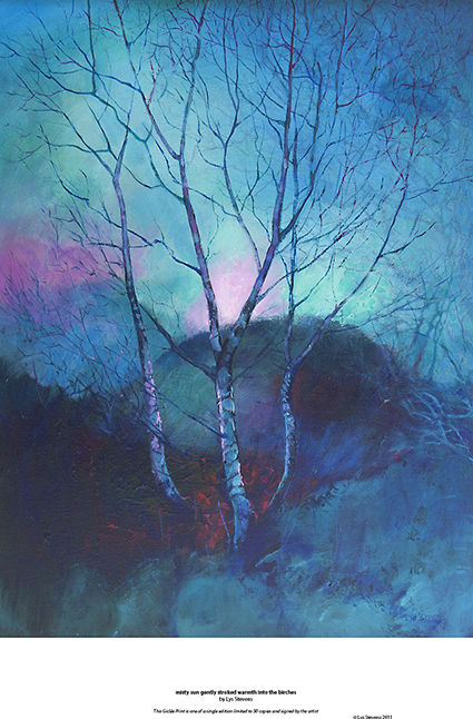 misty sun gently stroked warmth into the birches PRINT 36x27cms
