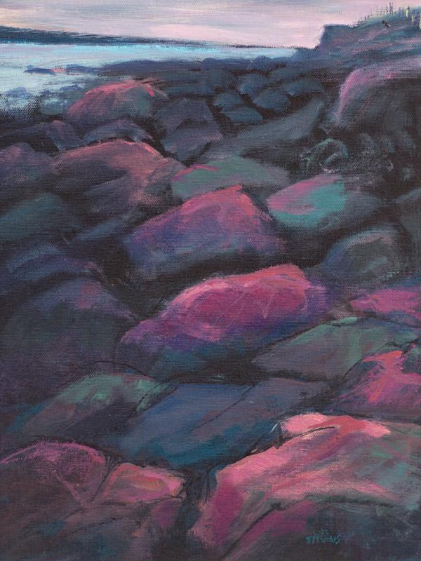 pink rocks, blue green shadows, Mellon Charles