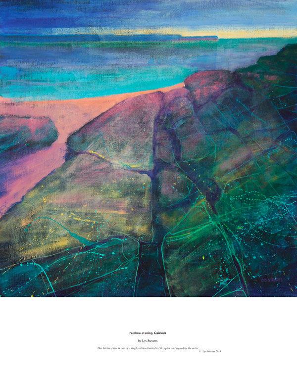 rainbow evening, Gairloch PRINT 27x27cms