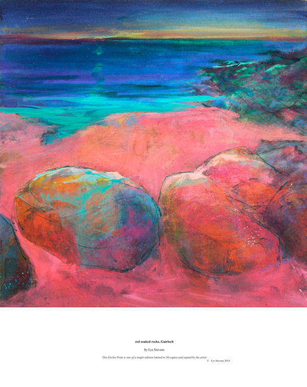 red soaked rocks, Gairloch PRINT 27x27cms