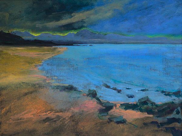 storm yellow sunrise, Big Sand, Gairloch PRINT 27x36cms