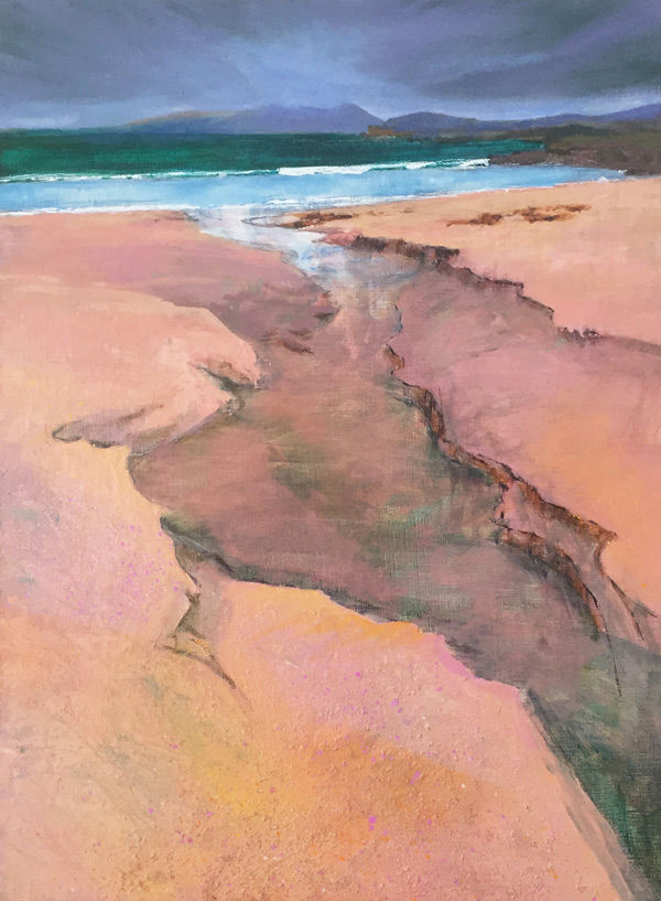 the sculpted runnel took hill water to the sea, Mellon Udrigle PRINT 27x36cms