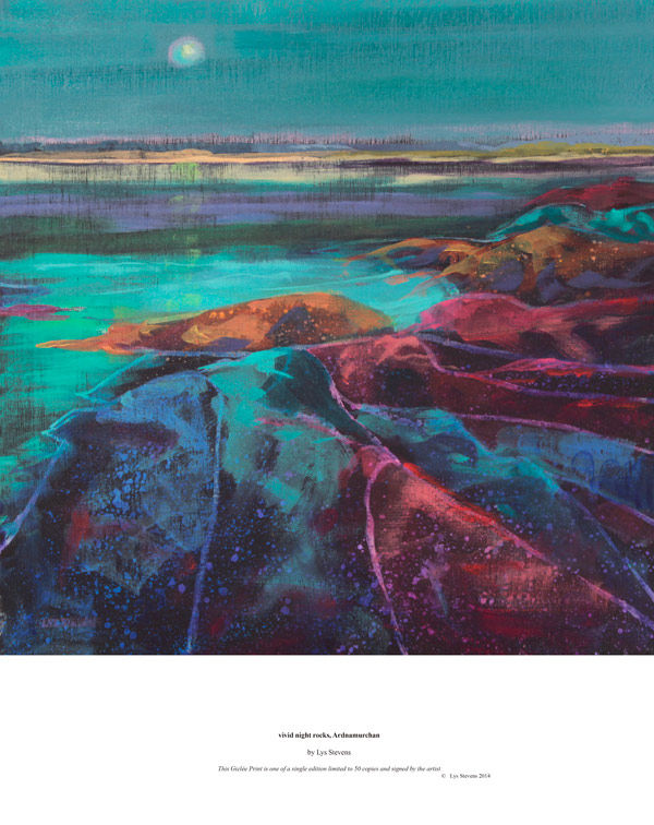 vivid night rocks, Ardnamurchan PRINT 27x27cms