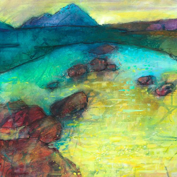 yellow pooled around the rocks