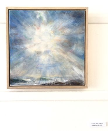 'Aldeburgh Beach Winter' oil on linen 38 x 38cm framed