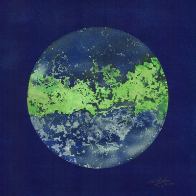 The blue world from space  [cyanotype and watercolour 2008]