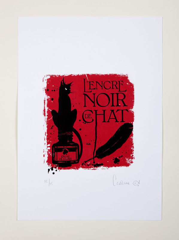 Le chat petit red square limited edition of 15 (165x165mm)