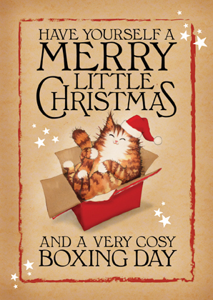Boxing Day Cat christmas card