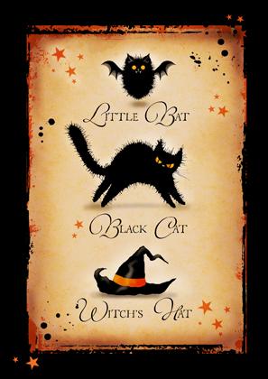 Little Bat. Black Cat. Witch's Hat.