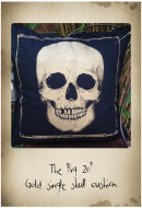 "20"" hand printed Gold skull cushion"