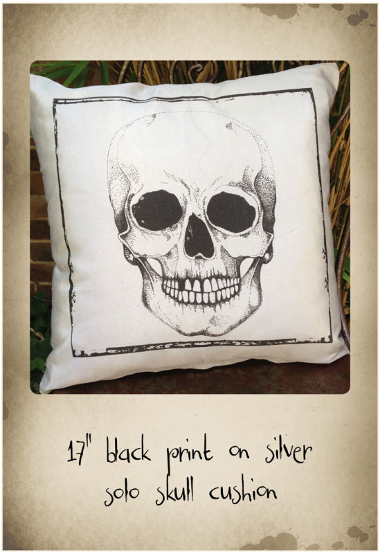 "17"" Silver cushion with black skull print"