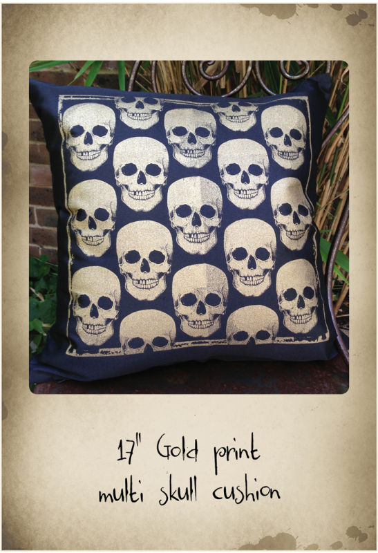 "17"" black cushion with gold skull repeat print"
