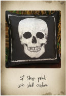 "17"" black cushion with silver skull print"