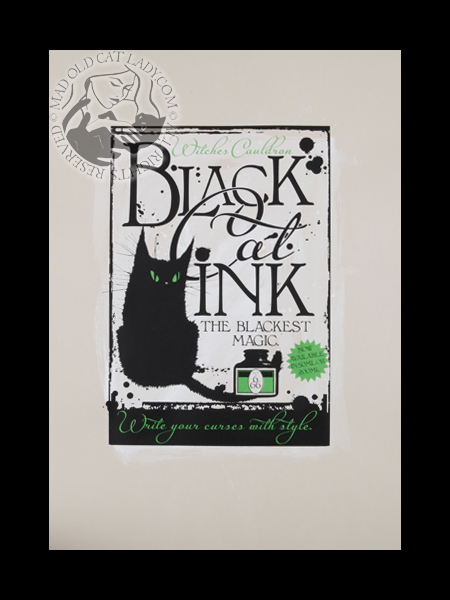 Black Cat Ink hand painted screenprint (approx 280x400)