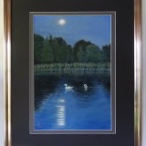 Swans By Full Moon Leatherhead