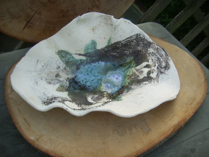 Platter with ash and copper glaze