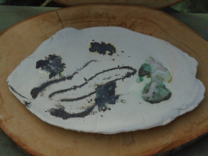 platter 22x33cms stoneware ceramic