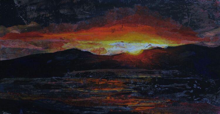 Sunset Rosbarnagh Island, 29 x 15 cms uf