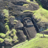Largest unfinished moai, still in rockface, approx 70 feet high