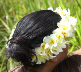 Hapa Pei woman with flowers in hair