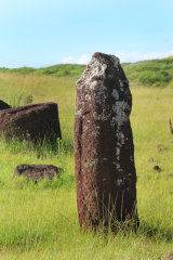 Only female moai at Vinapu. Also one of oldest moai