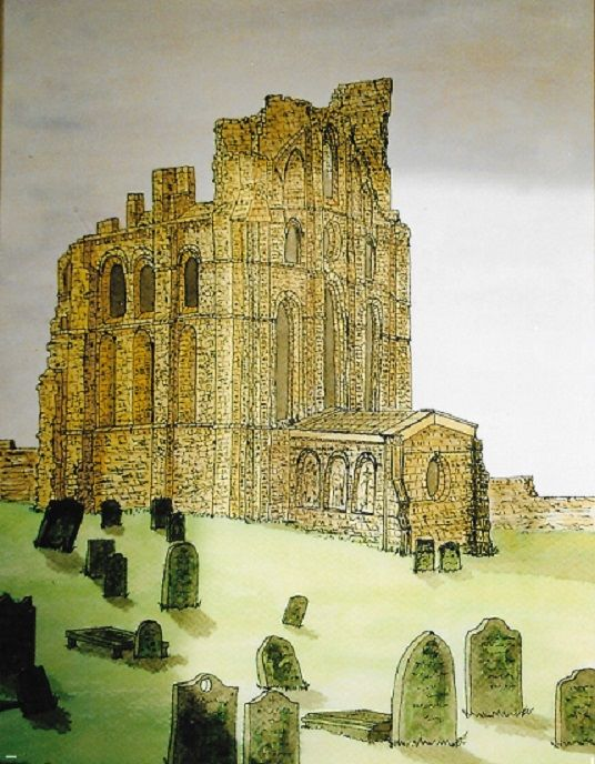 Tynemouth Priory, ink on paper, 40x31 cm, £80, Original.
