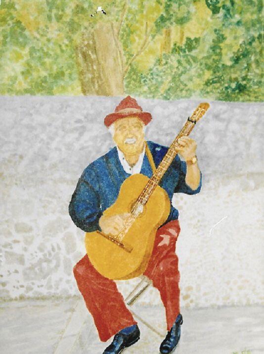 Majorcan Busker, water colour on paper, 31x26 cm, £30, Original.
