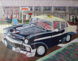 Santiago Cab, Acrylic on canvas paper, 35x25.5cm