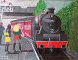 Oh Dr Beeching, acrylic on canvas paper,35.5x27.5cm