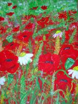 "Poppy Field,  Acrylics on canvas, 18x14"", £45"