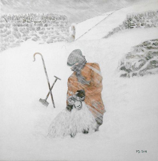 Tending the Flock, acrylic on canvas, 40x40 cm, £100, Original.