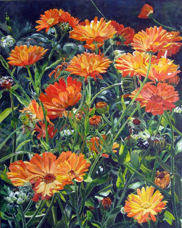 "Calendulas 18x22"", Acrylic on Canvas Board, NFS"