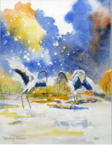 Cranes, Watercolour/Ink  25 X 19 cm £120