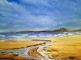 Dunstanburgh castle from Low Newton, oil on canvas, 32x22.5cm, NFS