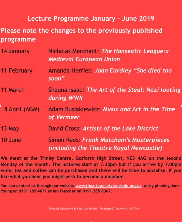 Newcastle Art Society programme of lectures.