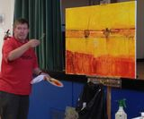 Anthony Marshall with his painting of Alnmouth estuary.