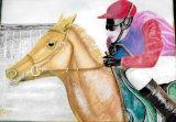 Final Furlong, Watercolour on Canvas, 20 X40 cm, £80