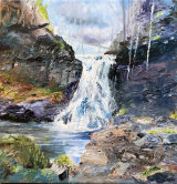 Hareshaw Linn, Bellingham  Oil on canvas block 11.5 X 11.5  £95