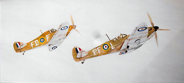 Hurricane and Spitfire, Watercolour on Canvas, 20 X 50 cm, £80 SOLD