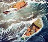 Last rescue by RNLI George Elmy, 17.1.62 leading to disaster at Seaham Harbour. Oil on canvas, 60x60cm, unframed, £150
