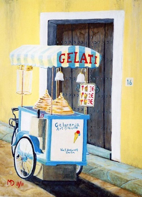 Ice cream trike, Garda, Italy, acrylic on canvas, 40x30cm, unframed, £100