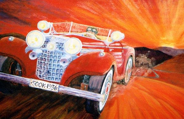 'Road-test' Mercedes Benz 500K - 1936. Oil on canvas - SOLD