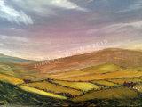Pastoral scene, oil on boxed canvas, 50x20cm, £80