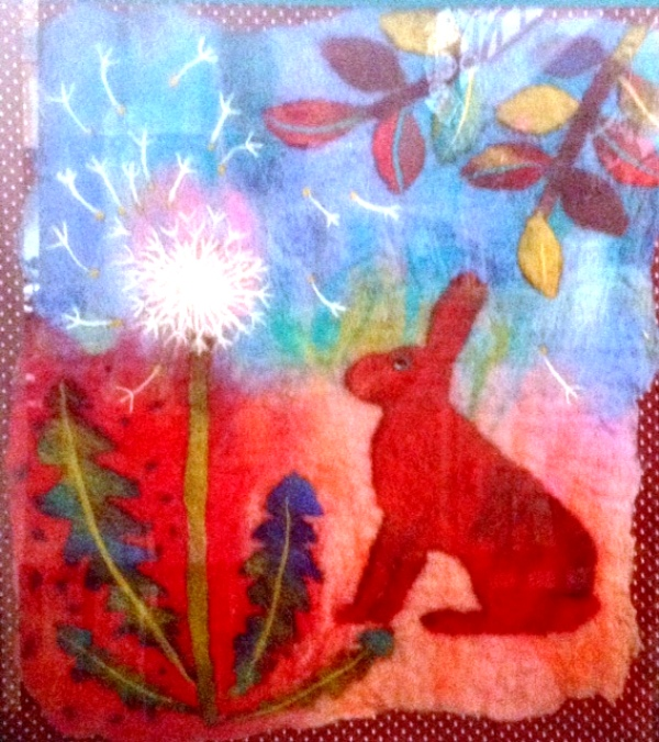 'Dandelion Clock'  Hand made felt with needle felting and hand embroidery  19 X 16 ins