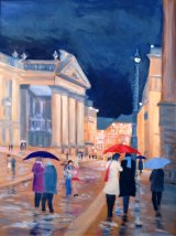 Rain on Dacre Street, Newcastle,  Oil,  Framed,  22.5 X 29in,  SOLD