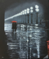 Rain on Our Parade Oil on canvas block 15.5 X 12 cm £95  SOLD