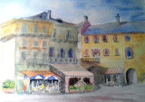 Street Scene near Cannero, Lake Maggiore  Watercolour